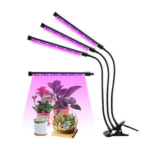 WMIAO Grow Light Für Zimmerpflanzen, Neueste Timing-Funktion (Auto on/Off) mit 36 LED (18W) Dual Head, Einstellbarer Flexibler 360 ° Schwanenhals