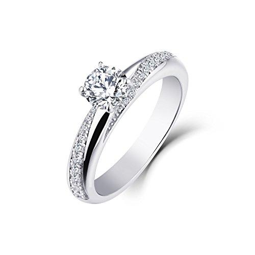 ld 5MM 0,5 ct Moissanite und natürliche Diamant-Verlobungs-Ehering(Größe 56) ()