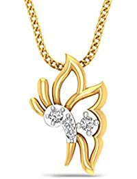 P.N.Gadgil Jewellers 18KT Yellow Gold And Diamond Pendant For Women