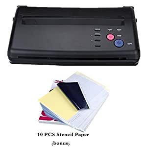 Ridgeyard Tattoo Thermal Transfer Copieur Imprimante Black Machine avec 10 pcs A4 Tattoo Papier Transfert Stencil