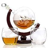 BQT Whiskey Globe Decanter Set - 1000 ML mit 2 World Etched Whisky Glasses (300ml) Holzsockel und sicherem Paket - perfektes Geschenkset für Likör, Scotch, Bourbon, Wodka und Wein
