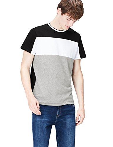 FIND T-Shirt Herren mit Streifen und Colour-Blocking Schwarz (Black)