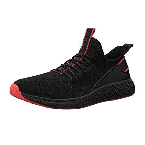 CUTUDE Sommer Herren Laufschuhe Turnschuhe Bequem Mesh Ultra-Leicht Atmungsaktive Flache Schuhe Sportschuhe Sneaker Schnürer Freizeitschuhe (Rot, 44 EU) -