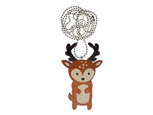 miniblings Collar de Cadena Hirsch 80cm Tierwald Ciervos Naturales Silvestres gamo