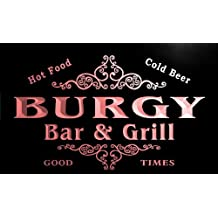 u06151-r BURGY Family Name Bar & Grill Cold Beer Neon Light Sign Enseigne Lumineuse