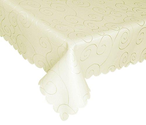 EcoSol Designs Mikrofaser Damast wirbelt Tischdecke, faltenfrei und schmutzabweisend 60x120 Ivory Swirls - Tischdecke Ivory Runde 120