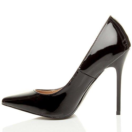 Femmes talon haut fête élégante escarpins de travail chaussures pointue taille Noir cuir