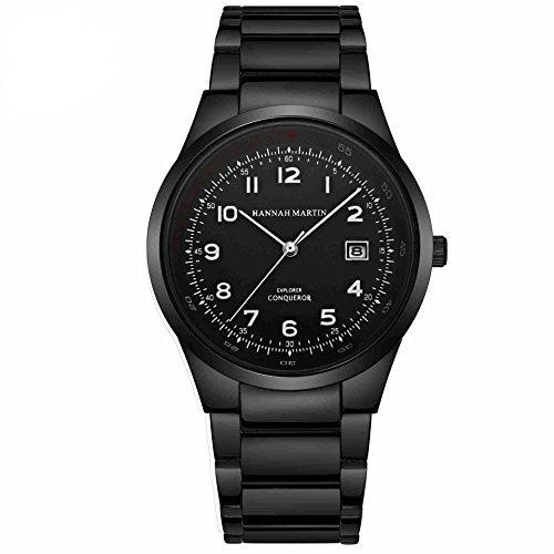 Herren Uhren,L'ananas High-End Kalender Anolog Quarz Arabische Ziffern Einfacher Leser Rostfreier Stahl Gurt Armbanduhren Wristwatches (Pures Schwarz)