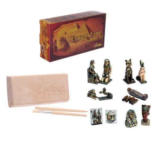 Fantastic Egyptian Excavation Dig it Out Kit, available in 6 designs: EL-1: Mummy and Internal Organs Containers EL-2: Pharaoh and Egyptian Bust EL-3: Kneeling Pharaoh and Egyptian Sitting Queen EL-4: Winged Pharaoh and Chariot EL-5: Egyptian Bird an...