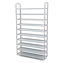 SONGMICS 10 Tier Shoe Storage Organiser for up to 50 Pairs of Shoes Living Room Dressing Room Hallway Non-Woven Fabric 100 x 29 x 175 cm Grey LSR10G