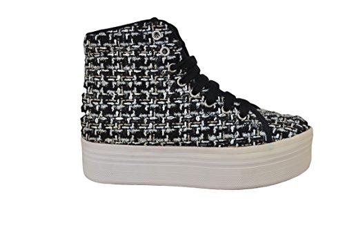 JEFFREY CAMPBELL EPLAY Sneaker HOMG Tweed Nero-Argento (38)