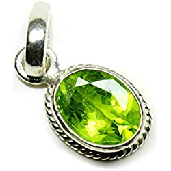 Jewelryonclick 4.25 Ratti Natural Oval Certified Gemstone Peridot Pendant Charm 92.5 Sterling Silver