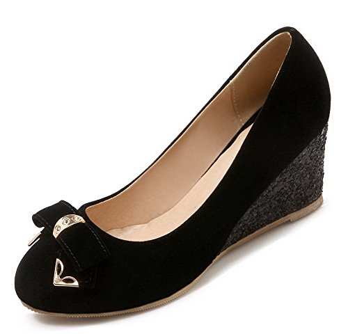 VogueZone009 Femme Tire Dépolissement Rond à Talon Correct Chaussures Légeres Noir