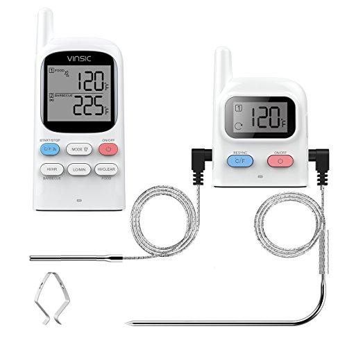 Grillthermometer Vinsic® Fleischthermometer BBQ Thermometer 2 Fühler 100m Fernbedienung wiederaufladbarer Funk Ofenthermometer Raucher, Grill, Ofen Digital Fleisch Thermometer