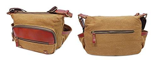 Xinmaoyuan uomini borsette panno con borsa tracolla in pelle Sezione canto Zipper Borsa messenger in tela Bag Men ,grigio Kaki