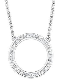 s.Oliver Damen-Kette mit Anhänger Kreis Geometrie 925 Silber rhodiniert Zirkonia weiß 45 cm-2012496