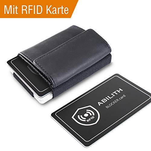 Kreditkartenetui, ABILITH Echtes Leder Kartenetui Geldklammer Portmonee Geldbeutel mit RFID Schutz für Alltag (Schwarz-RFEID)