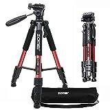 ZOMEI Q111 Trípode ligero para cámara de fotos de 55 pulgadas con soporte para teléfono y bolsa de transporte para proyector Tablet Smartphones YouTube Live DSLR EOS Canon Nikon Sony Samsung (rojo)