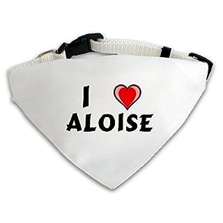 Personalisierter Weißer Hundschal mit Aufschrift Ich liebe Aloise (Vorname/Zuname/Spitzname)