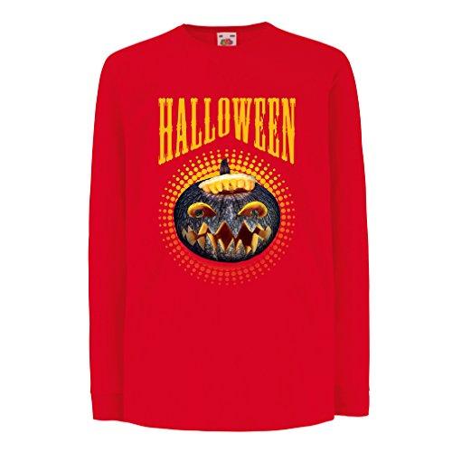 Kinder-T-Shirt mit langen Ärmeln Halloween Kürbis - Party Kostüm Ideen 2017 (12-13 years Rot (Ideen Kostüm Paris)