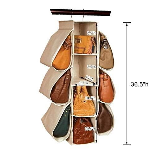 LONGTEAM Nonwoven Hanging Handbag Storage Organiser - 10 Pockets