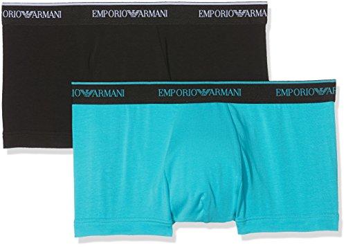 Emporio Armani Underwear Herren 1112108P717 Hipster, Mehrfarbig (Nero/Turchese 05320), X-Large (erPack 2)
