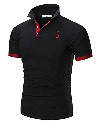 Boom Fashion Herren Poloshirt Beiläufig Kurzarm Stehkragen- Gr. XL, Schwarz