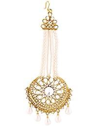 I Jewels Traditional Gold Plated Kundan & Pearl Jhoomar Passa Tikka for Women T1069W (White)