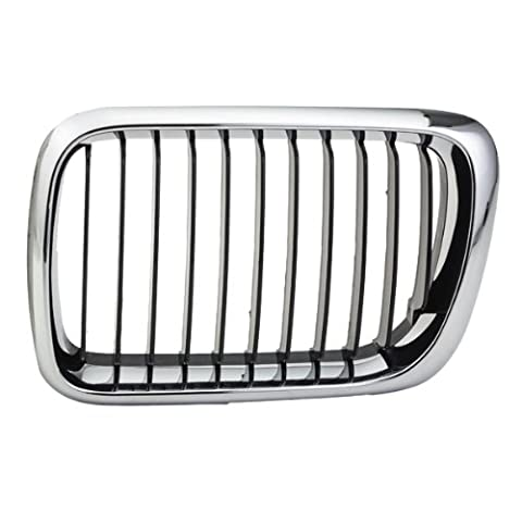 CarPartsDepot, Driver Left Side Front Grille Chrome Frame Removal Matte Black Vertical Insert LH, 400-12984-01 BM1200122 51138195151 by