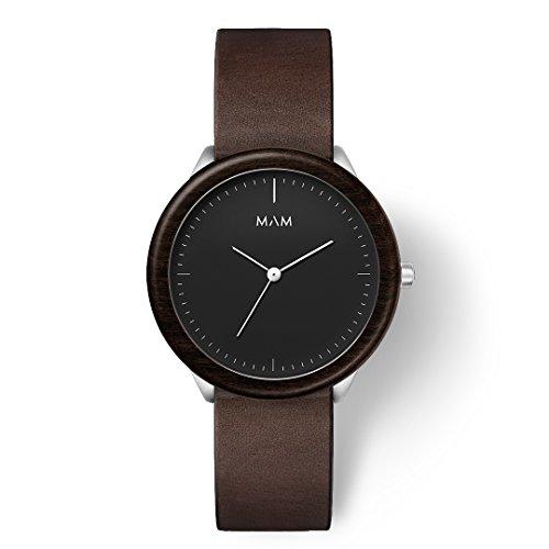 MAM Originals Herren Uhr Analog Japanisches Quarzwerk mit Leder Armband Stainless Dark Ebony Cooper