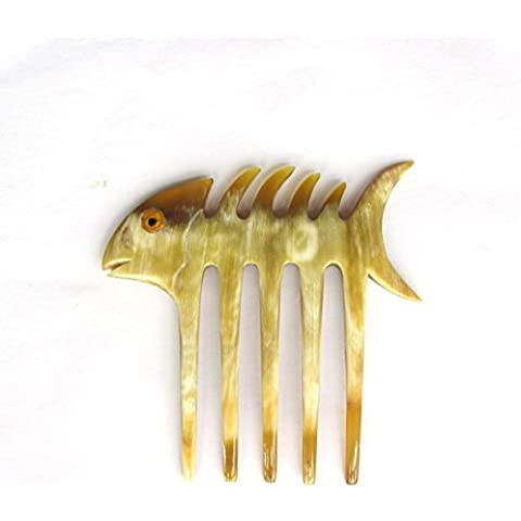 Marycrafts Translucent Left Side Decoration Fish Bone Buffalo Horn 5 Prongs Hair Fork, Hair Comb, Hair Pin, Hairpin, Hair Accessory, Hair Toy Handmade 4.13 by Marycrafts horn hair