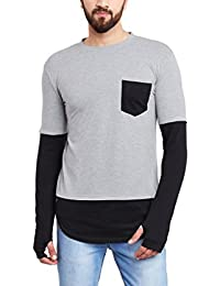Hypernation Grey And Black Color Round Neck Thumb Insert Cotton T-shirt For Men