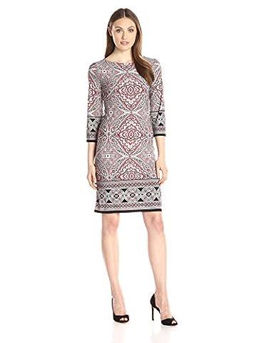 London Times womens Three-quarter-sleeve Matte Jersey Printed Shift Dress three-quarter-sleeve Dress  - red