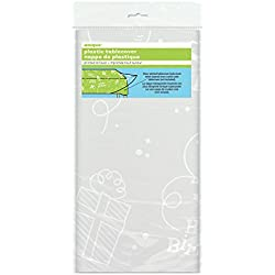 Mantel Happy Birthday, plástico transparente, 9ft x 4.5ft