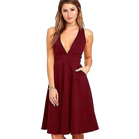 Kimiline Women Sleeveless Deep V Neck High Waist Pleated Slim Evening Party A-line Dress With Pocket