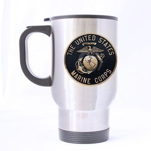 Custom Fashion États-Unis Blason Marine Corps Coloris Logo 14 oz Tasse de voyage en acier inoxydable Argenté-Mugs à café)