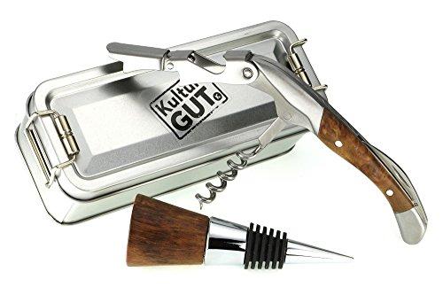 Tapón de botella Winewood + cuchillo de camarero sacacorchos + Caja plegable S