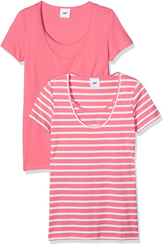 mamalicious-mllea-organic-nell-s-s-mix-top-nf-2-pack-t-shirt-de-maternite-femme-multicolore-sunkist-