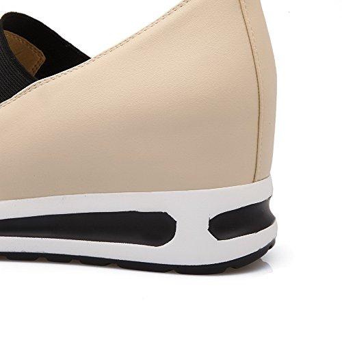 AllhqFashion Damen Pu Leder Rein Ziehen Auf Rund Zehe Mittler Absatz Pumps Schuhe Aprikosen Farbe
