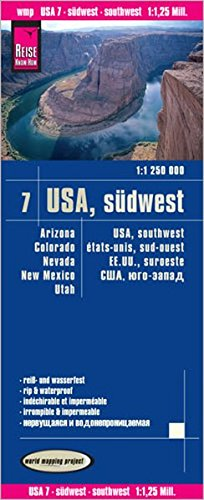 Reise Know-How Landkarte USA 07, Südwest (1:1.250.000) : Arizona Colorado Nevada Utah New Mexico: world mapping project