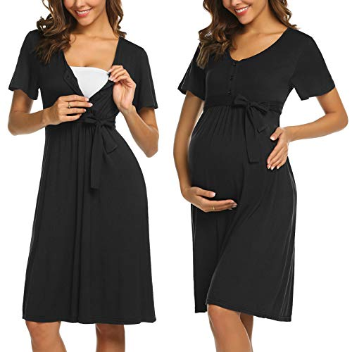 ADOME Damen Kurz Stillnachthemd Kurzarm Nachtkleid für Schwangere Umstands Nachthemd mit Stillfunktion Knopfleiste (Mutterschaft Nachtwäsche Krankenpflege)