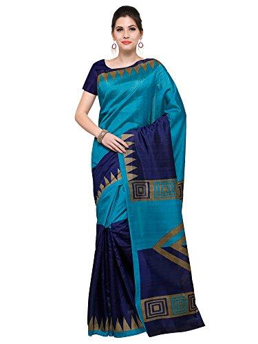 Paroma Art Women\'s Cotton Silk Saree With Blouse Piece (Blue)