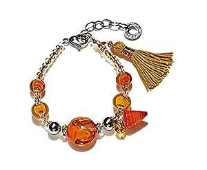 Antica Murrina Dada Collection Acier Inoxydable, Orange Bracelet Verre, Attirant