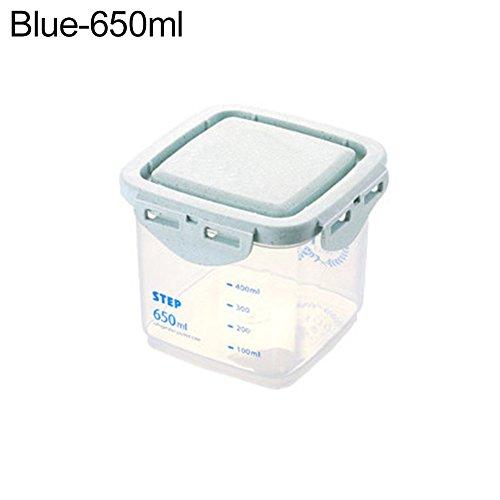 funie Küche Klar Kunststoff Müsli Bean Snacks trockenen Lebensmitteln Aufbewahrungsbox Fall Container 650 ml blau
