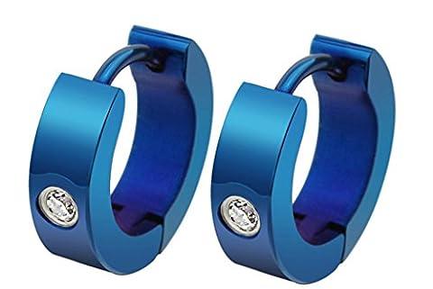 amdxd Bracelet jonc en acier inoxydable hommes de Clip d'oreille oxyde de zirconium rond simple bleu, 3paires de 1.28* * * * * * * * 0.38cm