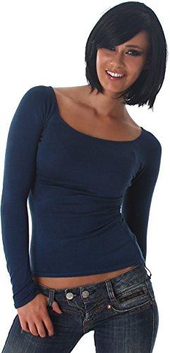 Jela London Donne bene maglione del pullover a maglia felpa costola camicia a collo 38,40,42,44 Petrol