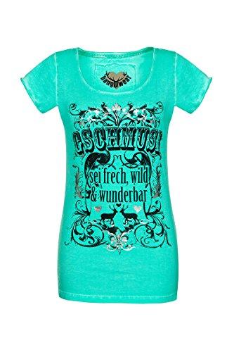 hangOwear Damen Trachten-Shirt mintgrün 'Gschmusi' Gerti mintgrün mit dem Aufdruck Gschmusi sei frech wild & wunderbar