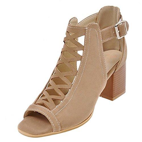 COOLCEPT Damen Mode Ankle Wrap Sandalen Peep Toe Blockabsatz Schuhe Beige