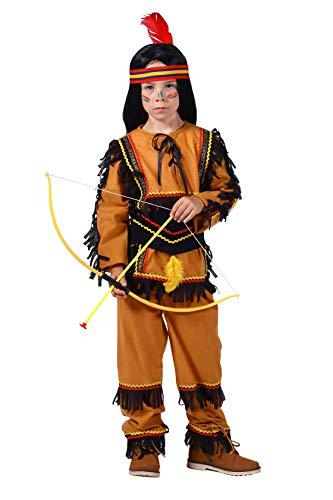 Indianer-Kostüm Kinder Jungen beige braun Oberteil und Hose mit Gummizug Adler Falke Apache Karneval Fasching Hochwertige Verkleidung Größe 140 Braun