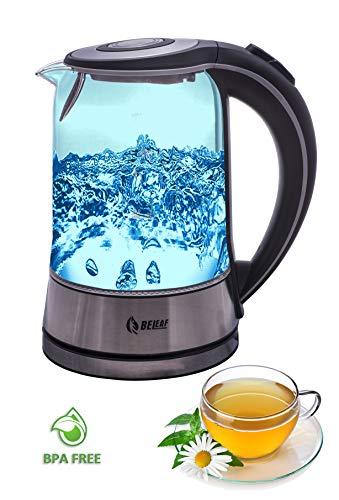 BeLeaf - Glas Wasserkocher - Teekocher - 1,7 Liter - 2200 Watt - kabellos - LED-Beleuchtung - Cool-Touch-Griff - Basisstation mit Kabelaufwicklung - Überhitzungsschutz - Abschaltautomatik - schwarz